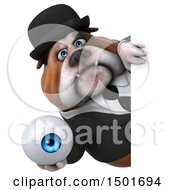 Clipart Of A 3d Business Bulldog Holding An Eyeball On A White Background Royalty Free Illustration
