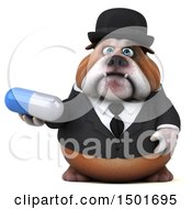 Clipart Of A 3d Business Bulldog Holding A Pill On A White Background Royalty Free Illustration