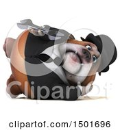 Clipart Of A 3d Business Bulldog Holding A Wrench On A White Background Royalty Free Illustration