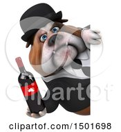 Clipart Of A 3d Business Bulldog Holding A Wine Bottle On A White Background Royalty Free Illustration