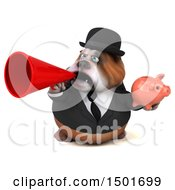 Clipart Of A 3d Business Bulldog Holding A Piggy Bank On A White Background Royalty Free Illustration