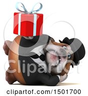 Clipart Of A 3d Business Bulldog Holding A Gift On A White Background Royalty Free Illustration