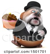 Clipart Of A 3d Business Bulldog Holding A Cupcake On A White Background Royalty Free Illustration
