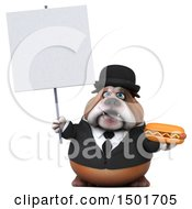 Clipart Of A 3d Business Or Gentleman Bulldog Holding A Hot Dog On A White Background Royalty Free Illustration