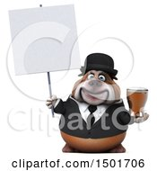 Clipart Of A 3d Business Or Gentleman Bulldog Holding A Beer On A White Background Royalty Free Illustration