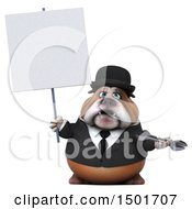 Clipart Of A 3d Business Or Gentleman Bulldog Holding A Wrench On A White Background Royalty Free Illustration