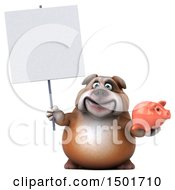 Clipart Of A 3d Bulldog Holding A Piggy Bank On A White Background Royalty Free Illustration