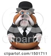 Clipart Of A 3d Bulldog Gentleman On A White Background Royalty Free Illustration by Julos
