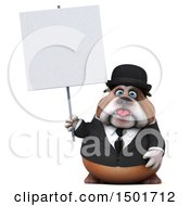 Clipart Of A 3d Bulldog Gentleman Holding A Sign On A White Background Royalty Free Illustration