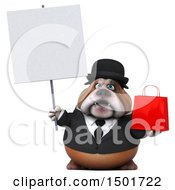 3d Gentleman Or Business Bulldog Holding A Shopping Bag On A White Background