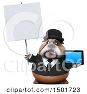 Clipart Of A 3d Gentleman Or Business Bulldog Holding A Tablet Computer On A White Background Royalty Free Illustration