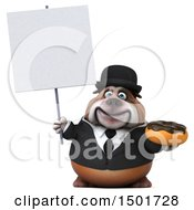 Clipart Of A 3d Business Bulldog Holding A Donut On A White Background Royalty Free Illustration