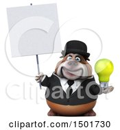 Clipart Of A 3d Business Bulldog Holding A Light Bulb On A White Background Royalty Free Illustration