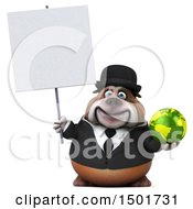 Clipart Of A 3d Business Bulldog Holding A Globe On A White Background Royalty Free Illustration
