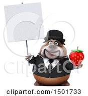 Clipart Of A 3d Business Bulldog Holding A Strawberry On A White Background Royalty Free Illustration