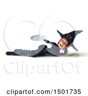 Clipart Of A 3d Sexy Blue Witch Holding A Plate On A White Background Royalty Free Illustration