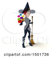 3d Sexy Blue Witch Holding Messages On A White Background