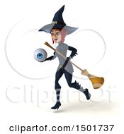 Clipart Of A 3d Sexy Blue Witch Holding An Eyeball On A White Background Royalty Free Illustration