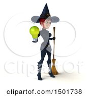 Poster, Art Print Of 3d Sexy Blue Witch Holding A Light Bulb On A White Background