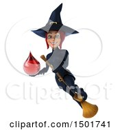 Clipart Of A 3d Sexy Blue Witch Holding A Blood Drop On A White Background Royalty Free Illustration