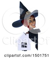 Clipart Of A 3d Sexy Blue Witch Holding A House On A White Background Royalty Free Illustration