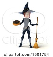 Clipart Of A 3d Sexy Blue Witch Holding A Donut On A White Background Royalty Free Illustration