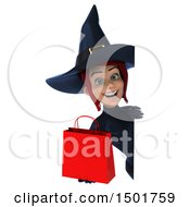 3d Sexy Blue Witch Holding A Shopping Bag On A White Background