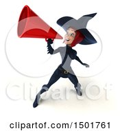 3d Sexy Blue Witch Using A Megaphone On A White Background