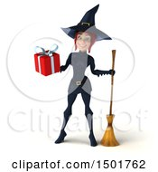 Clipart Of A 3d Sexy Blue Witch Holding A Gift On A White Background Royalty Free Illustration