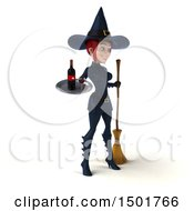 Clipart Of A 3d Sexy Blue Witch Holding A Wine Tray On A White Background Royalty Free Illustration