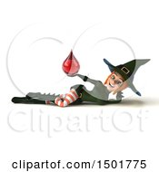 Clipart Of A 3d Sexy Green Witch Holding A Blood Drop On A White Background Royalty Free Illustration