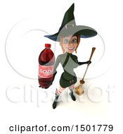 Clipart Of A 3d Sexy Green Witch Holding A Soda On A White Background Royalty Free Illustration