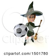 3d Sexy Green Witch Holding A Soccer Ball On A White Background