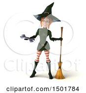 Clipart Of A 3d Sexy Green Witch Holding A Wrench On A White Background Royalty Free Illustration