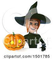 Clipart Of A 3d Sexy Green Witch Holding A Halloween Pumpkin On A White Background Royalty Free Illustration