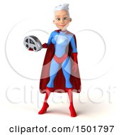 3d Young White Haired Caucasian Female Super Hero In A Blue And Red Suit Holding A Car On A White Background