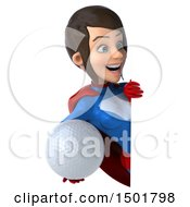 3d Young Brunette White Female Super Hero In A Blue And Red Suit Holding A Golf Ball On A White Background