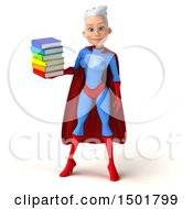 3d Young White Haired Caucasian Female Super Hero In A Blue And Red Suit Holding Books On A White Background