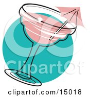 Poster, Art Print Of Pink Umbrella In A Strawberry Margarita