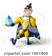 3d Muscular White Male Super Hero In A Yellow And Blue Suit Holding A Water Drop On A White Background