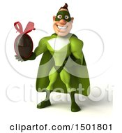 3d Buff White Male Green Super Hero Holding A Chocolate Egg On A White Background