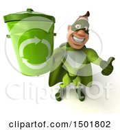 3d Buff White Male Green Super Hero Holding A Recycle Bin On A White Background