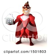 3d Buff Red White Male Super Hero Holding A House On A White Background