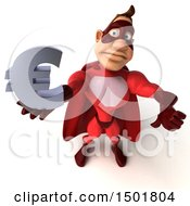 3d Buff Red White Male Super Hero Holding A Euro Symbol On A White Background