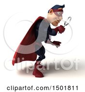 Clipart Of A 3d Buff White Male Maroon Hero Using A Magnifying Glass On A White Background Royalty Free Illustration by Julos