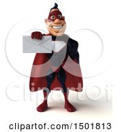 Clipart Of A 3d Buff White Male Maroon Hero Holding An Envelope On A White Background Royalty Free Illustration by Julos