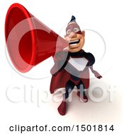 Clipart Of A 3d Buff White Male Maroon Hero Using A Megaphone On A White Background Royalty Free Illustration by Julos