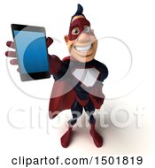 Clipart Of A 3d Buff White Male Maroon Hero Holding A Smart Phone On A White Background Royalty Free Illustration by Julos