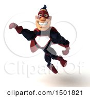 Clipart Of A 3d Buff White Male Maroon Hero Flying On A White Background Royalty Free Illustration by Julos