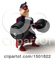 Clipart Of A 3d Buff White Male Maroon Hero Holding A Heavy Barbell On A White Background Royalty Free Illustration by Julos